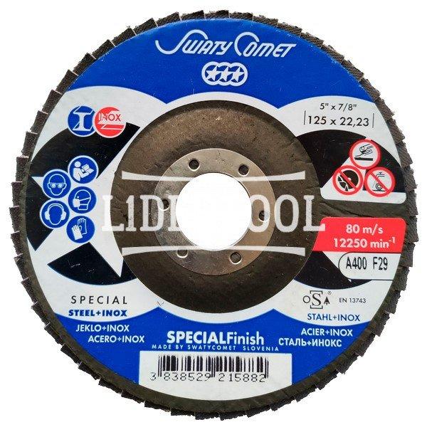 Круг лепестковый торцевой SwatyComet F29 LBD-K 125*22,23 A400 SUPER FINISH, цена – 111.56 грн, фото №1
