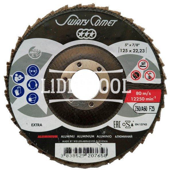 Круг лепестково торцевой  SwatyComet F29 FLAP DISCS EXTRA ALUMINIUM 125*22,23 Z60, цена – 93.95 грн, фото №1